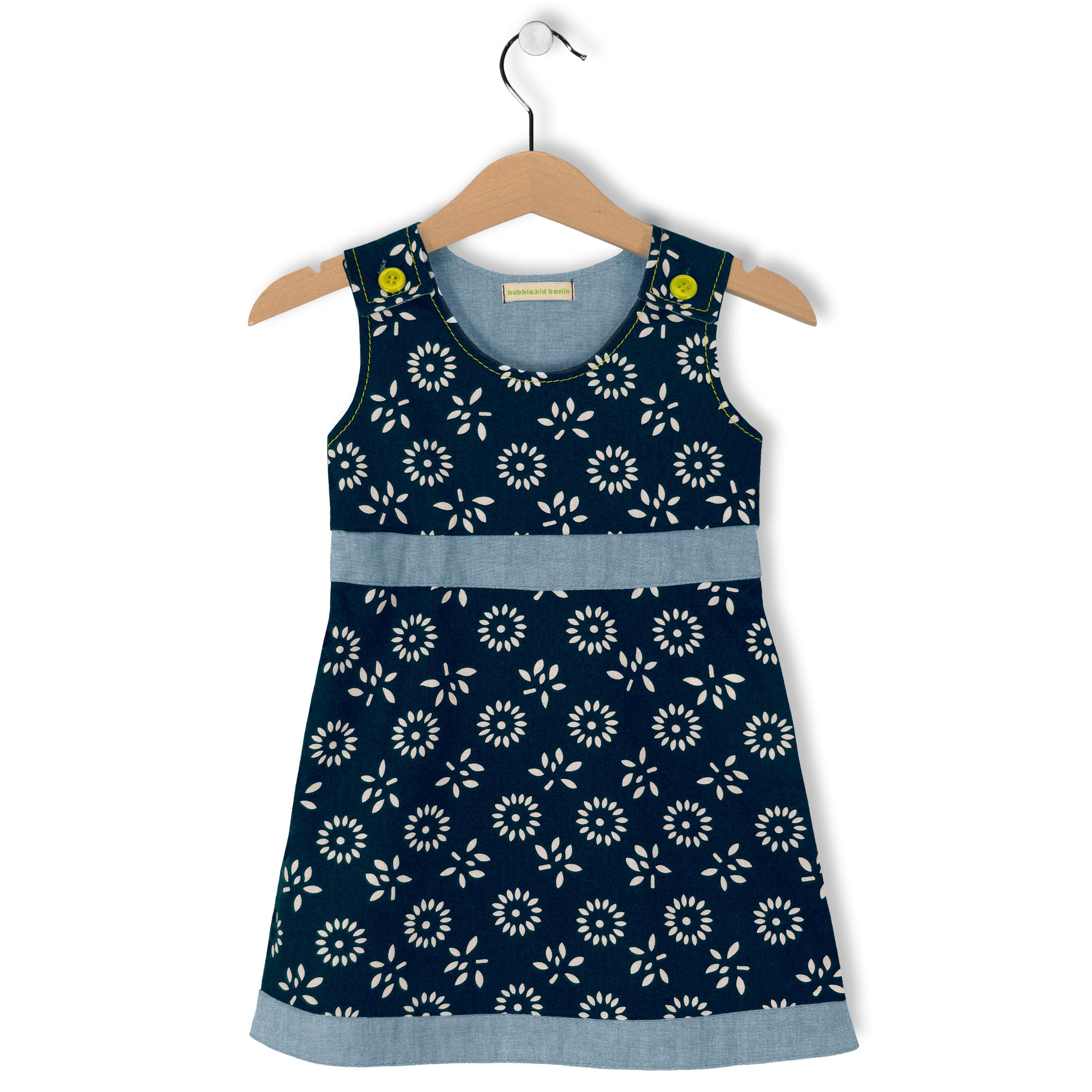 baby kleid aneta - baumwolltuch dunkelblau/weiss - bubble